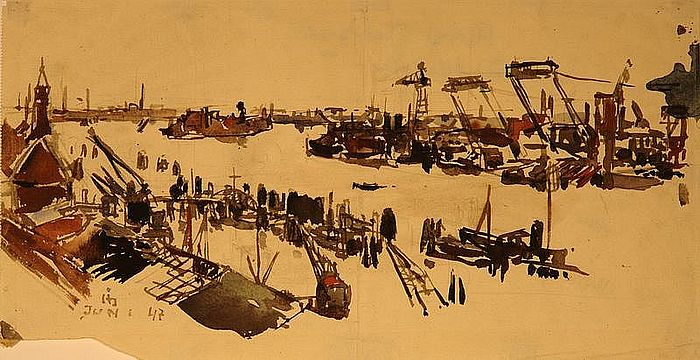 Horst Janssen, Hafen, watercolour on paper, 1947, 19,7 x 40,9 cm © VG Bild-Kunst, Bonn 2018